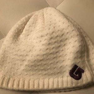 Burton white hat with purple logo